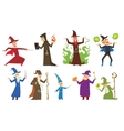 Group of magicians and wizards show old vector image