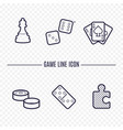 games linear icons chess dice cards checkers vector image