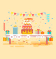 huge festive cake with candles vector image