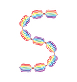Letter S made in rainbow colors vector image