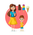 people eating ice cream flat woman or child vector image