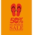 summer sale 50 discounts with flip flops vector image