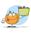 Pumpkin Holding Up A Tub Of Candy vector image