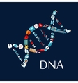 DNA helix from healthcare symbols flat icon vector image vector image