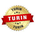 Turin round golden badge with red ribbon vector image