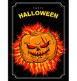 Halloween party Scary pumpkin with red eyes and a vector image