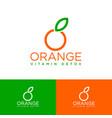 organic logo orange emblem natural products vector image