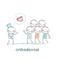 orthodontist says with patients about their teeth vector image