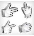 Set of four metallic hand signs vector image