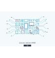 Social media integrated thin line symbols vector image