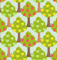 Apple tree seamless pattern Orchard background vector image