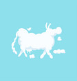 clouds shaped as cow silhouette vector image