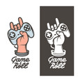 game and roll t-shirt design hand with joystick vector image