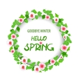 Hello spring floral pattern card vector image