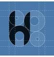Round engineering font Symbol H vector image