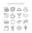 Set of simple icons for bar cafe and restaurant vector image