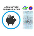 Euro piggy bank rounded icon with set vector image