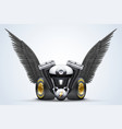 Symbol of motorcycle engine with Black open wings vector image