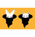 White Rabbit Cat in Witch Hat vector image