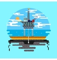 Oil platform sea flat vector image