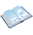 Open book with an of the winter vector image vector image