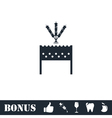 Barbecue grill with shashlik icon flat vector image