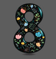 black glared number eight with watercolor flowers vector image
