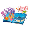 Book of underwater and sea animals vector image