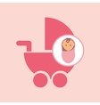 cute newborn girl on pink blanket and pram vector image