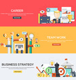 Flat designed banners Career Team work Strategy vector image