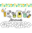 hand drawn set of lemonade on white background vector image
