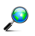Magnifying glass with earth globe isolated on vector image