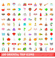 100 oriental trip icons set cartoon style vector image