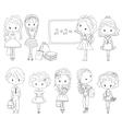 Adult Coloring book pupil School children vector image