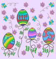doodle of easter egg on pink background vector image