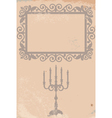 old texture with frame and candlestick vector image