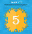 number five icon sign Floral flat design on a blue vector image