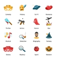 Flat movie genres icons vector image vector image
