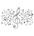 Musical notes and symbols in shape of treble clef vector image