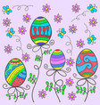 doodle of easter egg on pink background vector image
