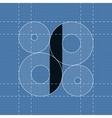 Round engineering font Symbol I vector image