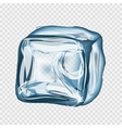Transparent ice cube in blue colors vector image
