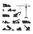 Silhouettes of Construction Machines on White vector image