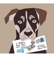 Dog letter post postman contacts vector image vector image