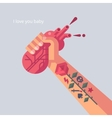 Man with tattoo is holding a his heart in hand vector image