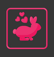 rabbit in love flat icon vector image