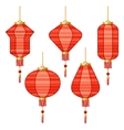 Set of various abstract red Chinese lanterns vector image