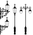 Set of vintage various streetlamp vector image vector image