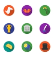 Theater set icons in flat style Big collection of vector image