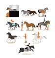 set of horse riding people icons in flat vector image